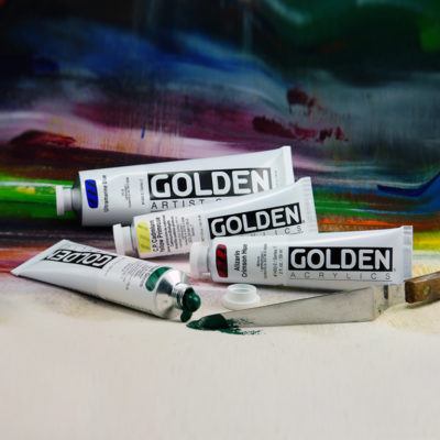 Golden Heavy Body Acrylics 2 oz Tubes; CP Cadmium Yellow Primrose; Cobalt Green; Alizarin Crmson Hue; Golden Heavy Body Acrylics 5 oz Ultramarine Blue